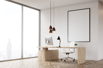 Corner of CEO table in his New York office