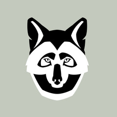 Wolf head vector illustration style flat
