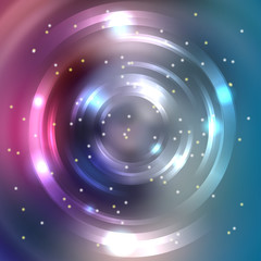 Vector round frame. Shining circle banner. Glowing spiral. Vector illustration. Pink, blue, green colors