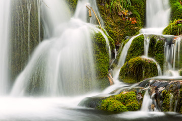 waterfall in deep forest in Plitvice national park