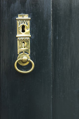 A dark green painted wooden door with a beautifully forged golden key hole