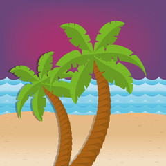 summer palms tree icon vector illustration graphic design