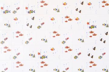 Fishes white ceramic tile for children's bathroom.