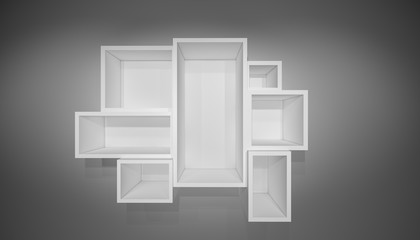 White shelves on gray wall with shadow