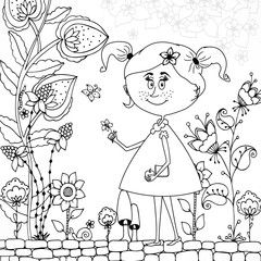 Vector illustration Zen Tangle girl in a floral . Doodle flowers, tree. Coloring book antis stress for adults. Black and white.