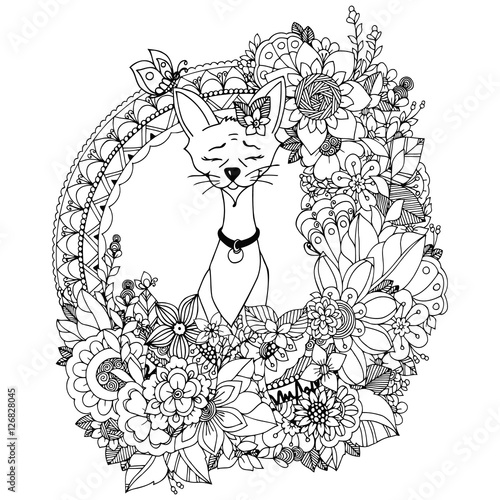 Doodle Drawing Egyptian Cat In The Floral Frame Coloring Book Anti Stress