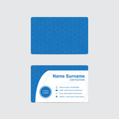 Blue Business card with hexagons theme