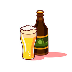 Beer glass and bottle isolated on white background.