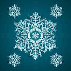 Snoflake_41 Christmas element: opaque crystal snowflakes on a dark turquoise background.