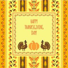 Happy Thanksgiving day retro style card template