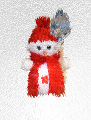 Abstraction, white snowman in red cap and scarf
