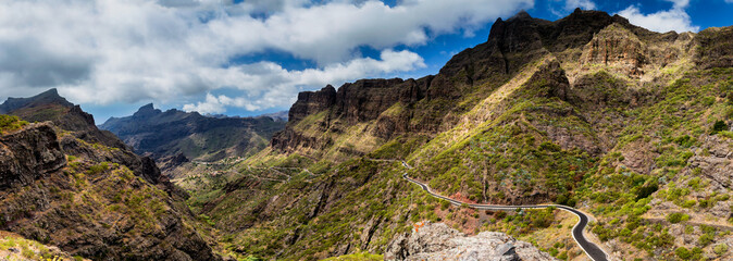 Mountain road to Masca village in Teno Mountains, Tenerife, Canary Islands, Spain.