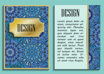 Card or invitation in oriental style with eastern floral mandalas ornament. Islam, Arabic, Indian, ottoman, chinese, japanese motifs