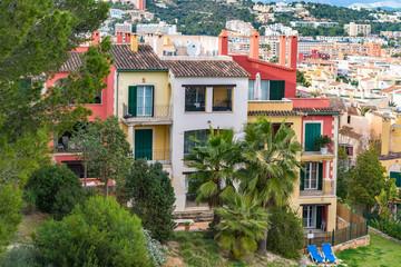 Architectural buildings on Balearic Island in Santa Ponca Majorc
