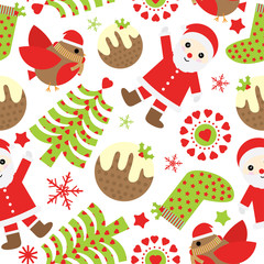 Seamless background of Christmas illustration with cute Santa Claus, bird, and Xmas ornaments suitable for Xmas scrap paper, wallpaper, and postcard