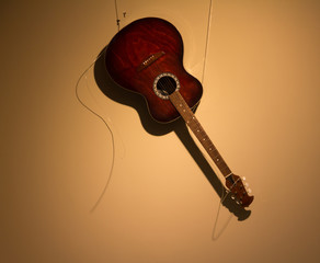 classic acoustic guitar on a light background