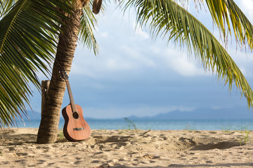 An acoustic guitar standing in the sandy beach under palm tree