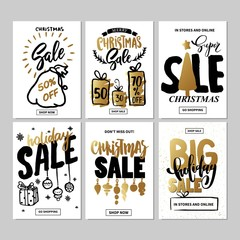 Set of creative sale holiday website banner templates. Christmas and New Year illustrations.