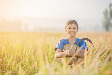 Asian children farmer on yellow rice field in the morning