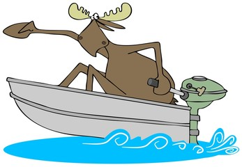 Illustration of a scared bull moose in a speeding motor boat.