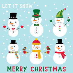Cute cartoon snowmen set