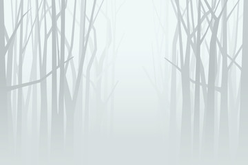 Foggy forest. Vector illustration
