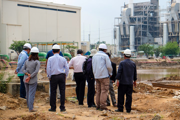 Group of engineer discussion at construction site