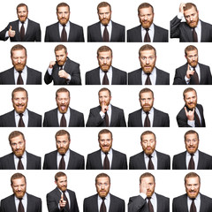 mosaic of businessman expressing different emotions.