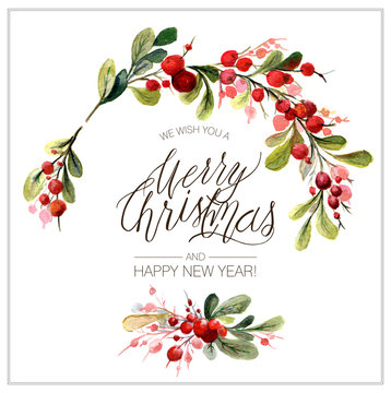 Christmas card. Watercolor painting with hand lettering. Berry wreath for Christmas. Watercolor.