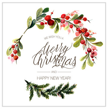 Christmas card. Watercolor painting. Hand lettering.