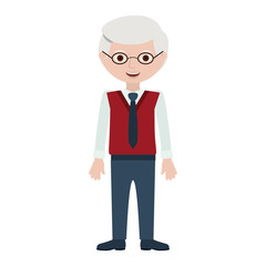 Grandfather cartoon icon. Old person man male and avatar theme. Isolated design. Vector illustration