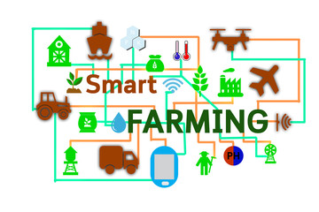 Wall Mural - Internet of things(argiculture concept),smart farming, smart agriculture.Icon of smart farming,illustration