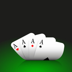 Four aces combination, poker, casino, curved,  on dark green background