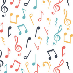 Music note background. Sound melody pentagram and musical theme. Isolated design. Vector illustration