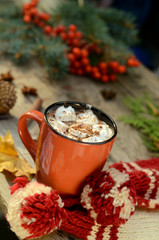 Cocoa or cup of coffee with tasty marshmallows, fir tree branch, red rowan tree berries. Still life on old rustic wooden table under bright sun lights of sunrise. Warm autumn season background