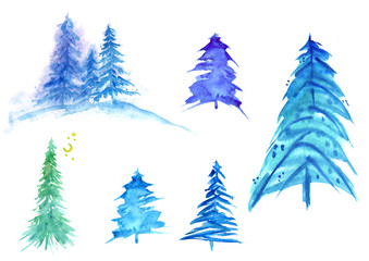 Watercolor set of trees, pine, cedar, fir. Winter illustration on a white background isolated. Vintage patterns for design