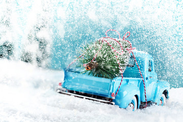 Snow countryside with christmas tree truck