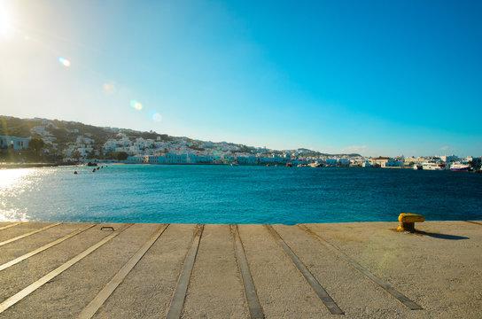 An harbor in Mykonos island, Greece