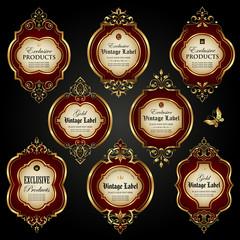 Luxury ornamental gold-framed labels
