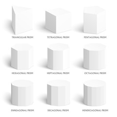 3d prisms template. Realistic with shadow