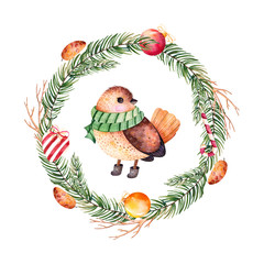 Christmas and New Year collection.Bright wreath with leaves,branches,Christmas balls,candy,heart,pinecones and cute bird.Handpainted watercolor illustration with bird,perfect for Christmas invitations
