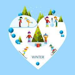 Kids playing winter games. Vector flat illustration.