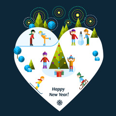 Christmas and Happy New Year greeting card. Vector flat illustration. Kids playing winter games.