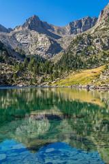 Reflections of Pic de Mar, at Monestero Lake. (Catalonia, Spain).