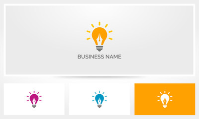 Pen Lightbulb Writing Idea Logo