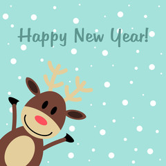 New year's greeting card with deer
