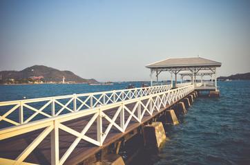 Woolden bridge  in the port at Koh Sichang.