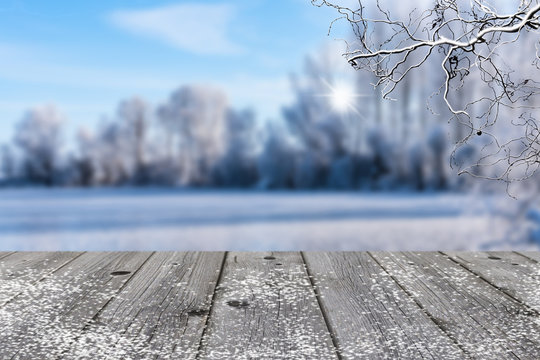 grey wood in winter landscape background