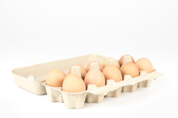 Chicken eggs for market place on White Background