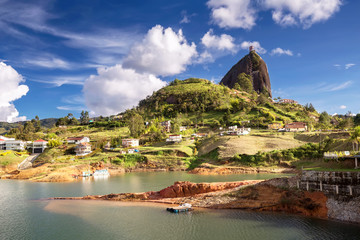 The Rock El Penol near the town of Guatape, Antioquia in Colombia